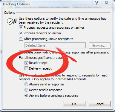 Microsoft Outlook Read Reciept - Tracking Options - Read Reciept